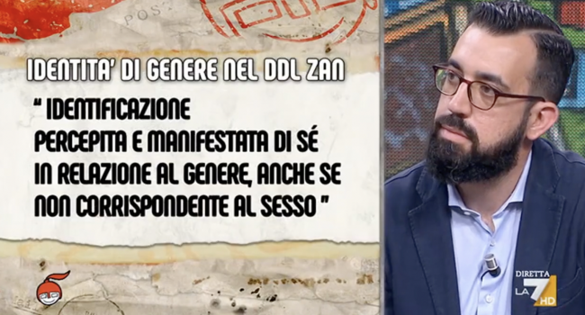 """Jacopo Coghe a DiMartedì: """"Il ddl Zan mette in pericolo i bambini"""""""